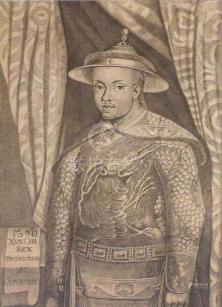 AN ETCHING DEPICTING A DIGNITARY, China - Framed under glass - Property from a Hungarian private collection