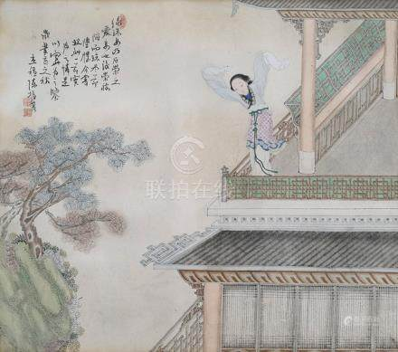CHEN ZHENJI, LADIES IN ARCHITECTURAL SETTING, China, 18th/19th ct., Two album leafs, framed under glass - Property from a German noble collection - Very minor traces of age