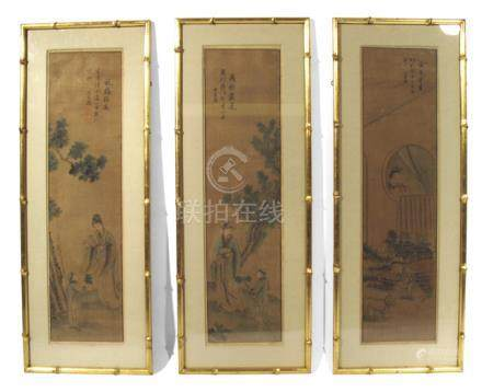 THREE PAINTINGS DEPICTING FIGURAL SCENES, China, signed: Shangguan Zhou - Ink and colour on paper, framed under glass - Property from a German private collection, by descent to the present owner - Slightly creased