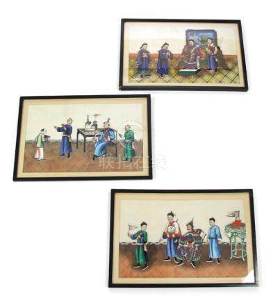 THREE RICEPAPER PAINTINGS DEPICTING FIGURAL SCENES, China - Property from a German private collection, by descent to the present owner - Framed under glass - Slightly stained and creased