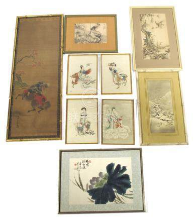 NINE DIFFERENT PAINTINGS AND PRINTS, China/Japan - Property from a German private collection, by descent to the present owner - Framed under glass