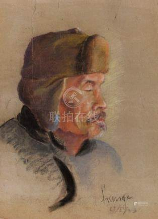 A PORTRAIT OF AN OLD MAN WITH CAP, signed and dated: Lange, 29/1/43 - Property from a German private collection, acquired in China prior 1940 - Pastel - torn