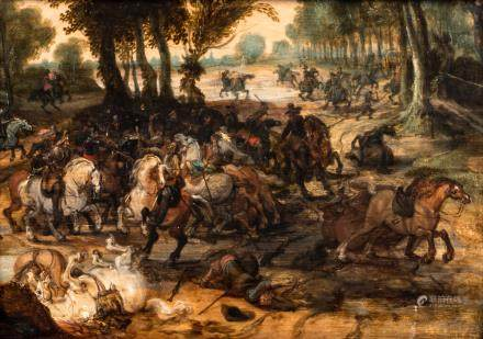 Attributed to/surroundings of Vrancx S., a battle scene, oil on panel, 17thC, 25,5 x 36 cm