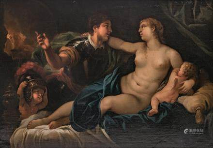 Unsigned, Mars and Venus, oil on canvas, presumably French, 17thC, 121 x 173 cm