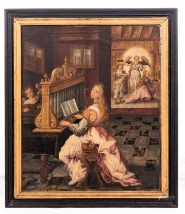 Unsigned (monogrammed P.V.?), Saint Cecilia, oil on panel, 16thC, the Southern Netherlands, 47 x 56 cm