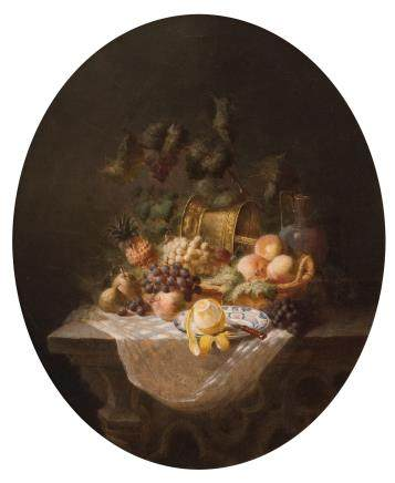 Illegibly signed (Ch. ...), a still life with lemon and other fruits, oil on canvas, 18thC, 39 x 50 cm