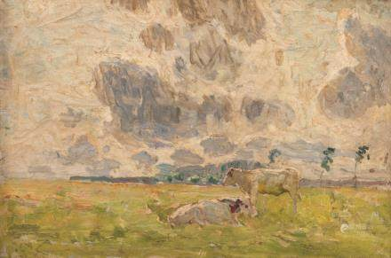 Claus E., cattle in a field, oil on panel, stock number 953 Galerie Georges Giroux (see label at the back), various annotations and signature on the backside, 26 x 38 cm