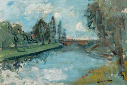 Wolvens H.V., a view on (Bruges), oil on paper on board, two exhibition labels on the backside, 51 x 75 cm