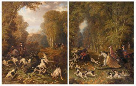 Malenson P., two hunting scenes in the manner of the 18thC, oil on canvas, dated 1856, 85 x 110 cm