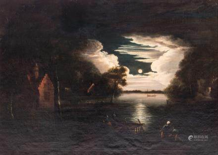 (Van der Neer A.), a landscape by moonlight, oil on canvas, 17thC, 75 x 102 cm