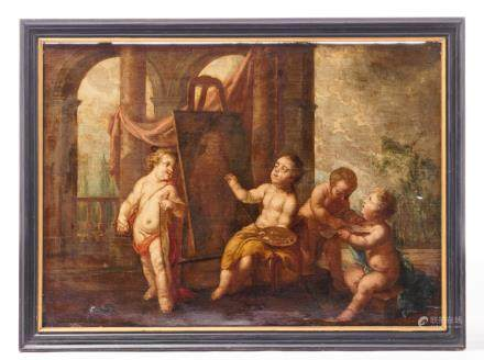 Unsigned, an allegory on the art of painting, part of a wall panelling, 18thC, 85 x 119 cm