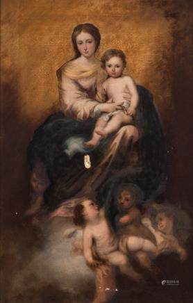 Unsigned, Our Lady and Child seated on a with angels crowded cloud, oil on canvas, 67 x 102 cm