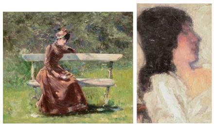 Unsigned, a musing lady in a park, oil on panel, 32,5 x 39 cm; added attributed to Allard L'Olivier F., a portrait of a lady, oil on panel, 21,5 x 34 cm
