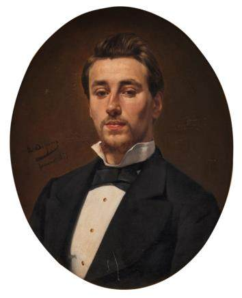 De Jans E., a portrait of a man, oil on canvas, dated 1879, 48 x 61 cm