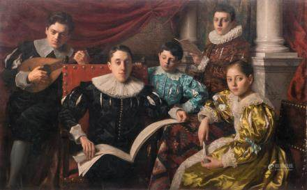 De Jans E., a family portrait, oil on canvas, dated 1902, 108 x 176 cm