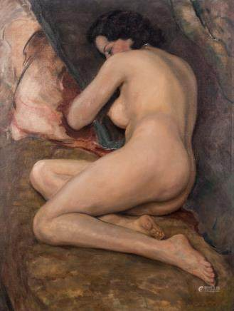 Lejeune L., a lying nude, oil on canvas, dated 1917, 81,5 x 107 cm
