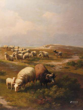 Verboeckhoven E., sheep in a landscape, oil on canvas, dated 1878, 103 x 135 cm