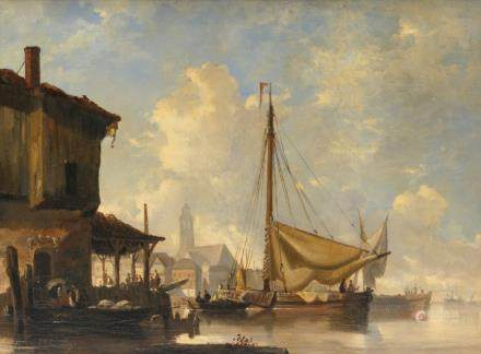 Schaumburg J., a view on a harbor, oil on canvas, 19thC, 51 x 67 cm