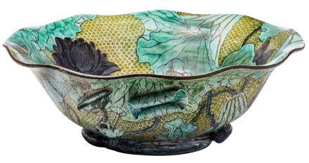 A fine Japanese polychrome and relief decorated Kutani lotus bowl, marked, H 14,5 - ø 42 cm