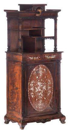 An Oriental elegant little Italian walnut cabinet with mother of pearl inlay, in a niche on top a peeping brass dragon, late 19thC, H 153,5 - W 66,5 - D 44 cm