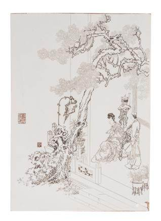 A Chinese incised and Indian ink colored plaque depicting a concubine and her servant on a terrace, marked, H 50,5 - W 36 cm
