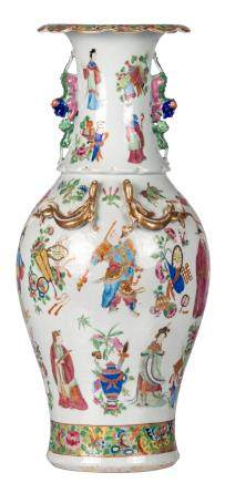 A Chinese famille rose baluster shaped vase, overall decorated with figures, antiquities and flower branches, H 61,5 cm