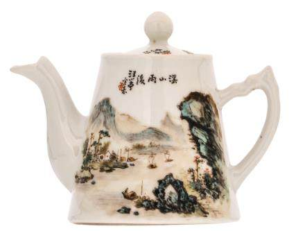 A Chinese polychrome decorated teapot and cover with a mountainous river landscape and calligraphic texts, H 11 - W 15,5 cm
