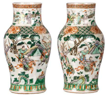 Two Chinese famille verte begonia shaped vases, overall decorated with a warrior scene, 19thC, H 35,5 cm