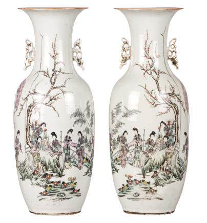 A pair of Chinese famille rose vases, decorated with a gallant scene and calligraphic texts, H 58,5 - 59 cm