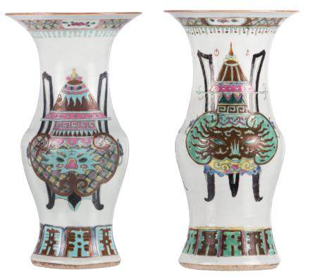 Two Chinese famille rose yenyen vases, decorated with antiquities and calligraphic texts, H 36 cm
