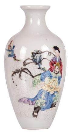 A Chinese polychrome decorated vase with two figures, marked, H 22 cm
