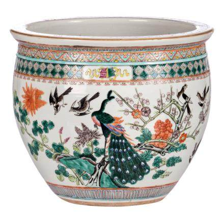A famille rose Chinese fish bowl, overall decorated with a phoenix and various birds and flower branches, H 26,5 cm