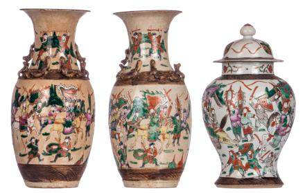 Two Chinese famille rose stoneware vases, overall decorated with warriors, marked; added a ditto vase and cover, H 41 - 44 cm