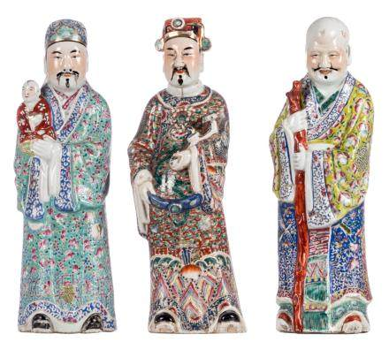 Three Chinese polychrome decorated 'Fu Lu Shou Xing' figures, one marked, about 1900, H 46 cm