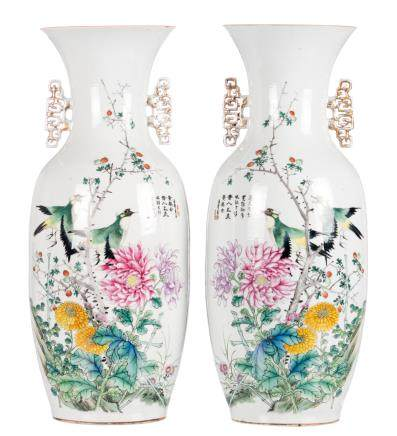 A pair of Chinese famille rose vases, both sides decorated with birds on flower branches and calligraphic texts, signed, H 57,5 cm