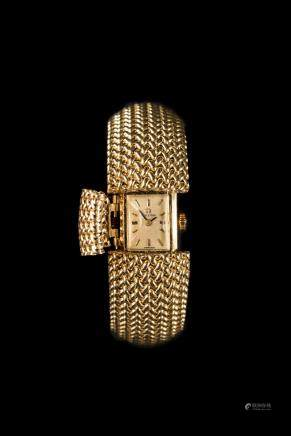 Rare Vintage Omega 14k Yellow Gold Lady's Flip Top Woven Mesh Bracelet Watch