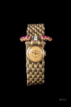 Vacheron Constantin Gold, Platinum, Diamond and Synthetic Ruby Bracelet-Watch