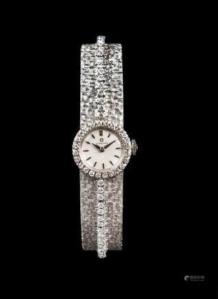 Omega , 18k white gold, push back, diamond set 18k white gold bracelet