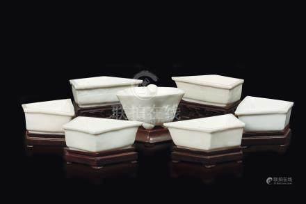 Seven Blanc de Chine Dehua porcelain food bowls, China, Qing Dynasty, Kangxi Period (1662-1722)