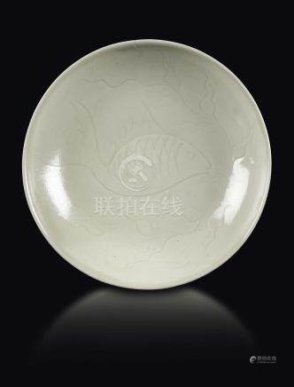 A Ding dish with carp, China, Song Dynasty (960-1279)