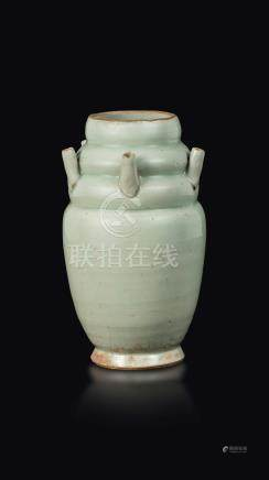 A pale Celdaon-glazed stoneware flower pot, China, Song Dynasty (960-1279)