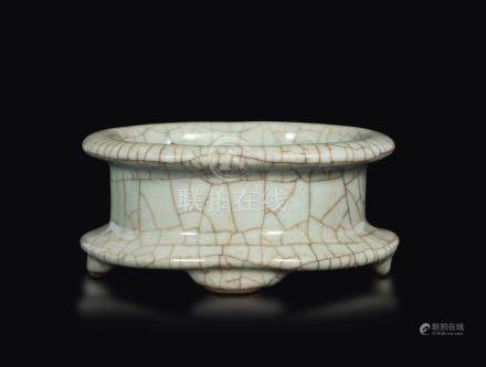 A Guan-type porcelain brush washer, China, probably Song Dynasty (960-1279)