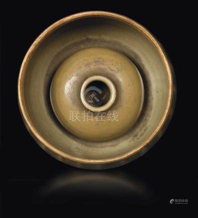 A Celadon-glazed grooved brush washer, China, Song Dynasty (960-1279