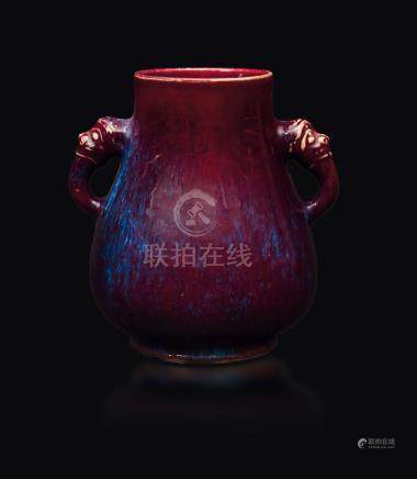 A violet flambé-glazed vase, China, Qing Dynasty, 19th century