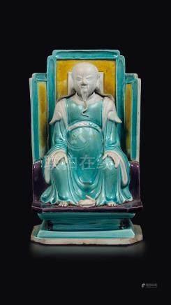 A glazed bisquit figure of Zhenwu, China, Qing Dynasty, Kangxi Period (1662-1722)