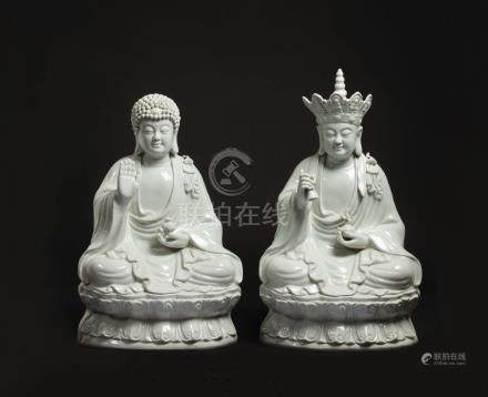 Two Blanc de Chine figures of Buddha on a double lotus ...