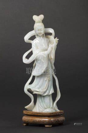 A jadeite figure of Guanyin, China, early 20th century