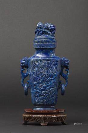 A lapis lazuli vase and cover, China, Qing Dynasty, late 19th century