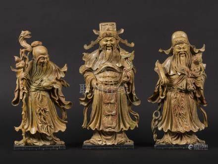 Three soapstone figures of wise men, China, 20th century