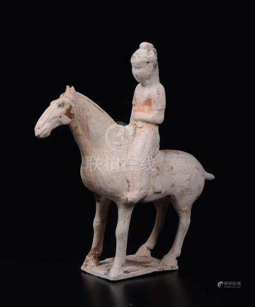 A painted pottery figure of horseman, China, Tang Dynasty (618-906)